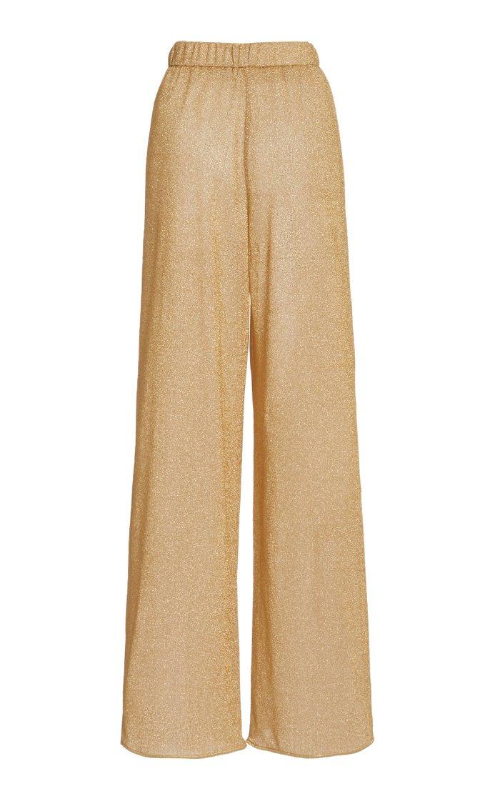 Lumière Stretch-Lurex Straight-Leg Pants