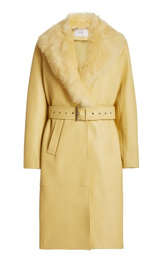 You & Me Shearling-Trimmed Leather Trench Coat