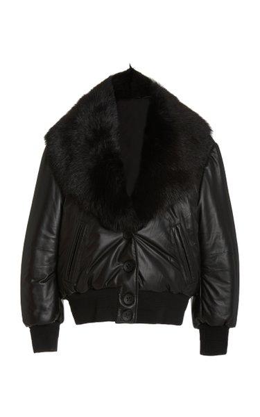 Sundazed Shearling-Trimmed Padded Leather Jacket