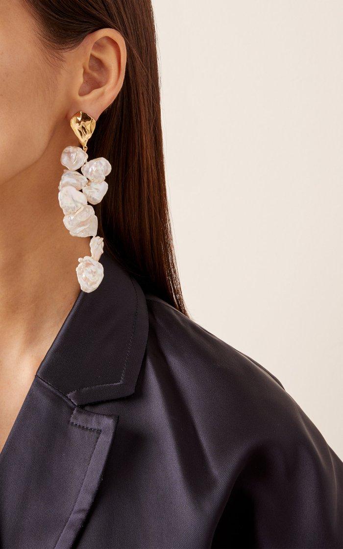 18K Yellow Gold Pearl Petals Earrings