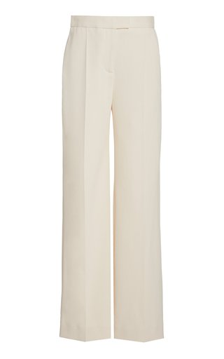High-Waist Straight-Leg Crepe Pants
