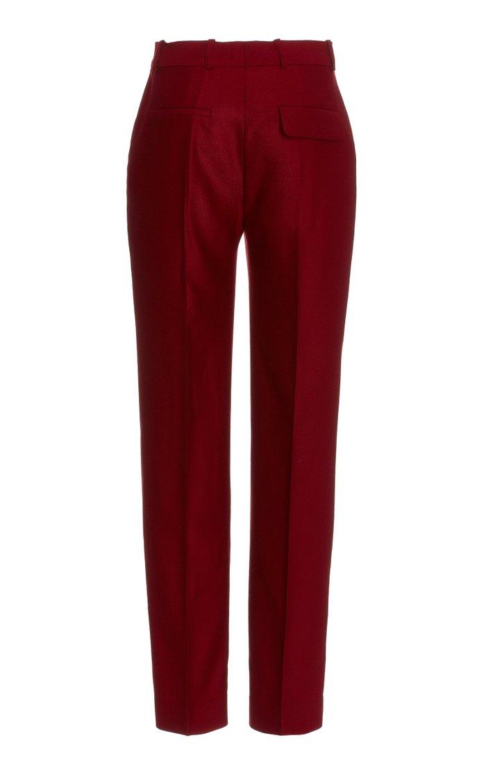 Drainpipe Wool Flannel Trousers