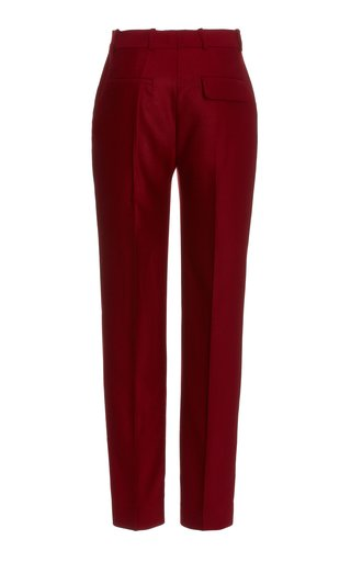 Drainpipe Wool Flannel Trousers