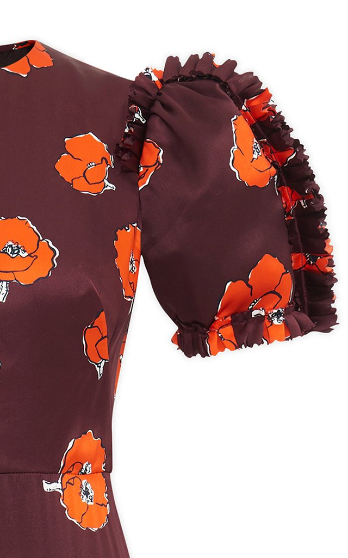 Confessional Ruffled Floral Silk Maxi Dress