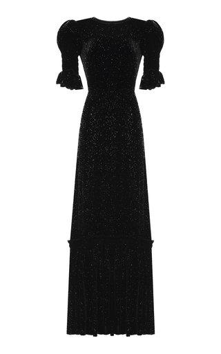 The Night Flight Glittered Velvet Maxi Dress