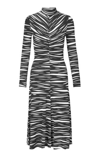 Asher Ruched Printed Stretch-Jersey Midi Dress