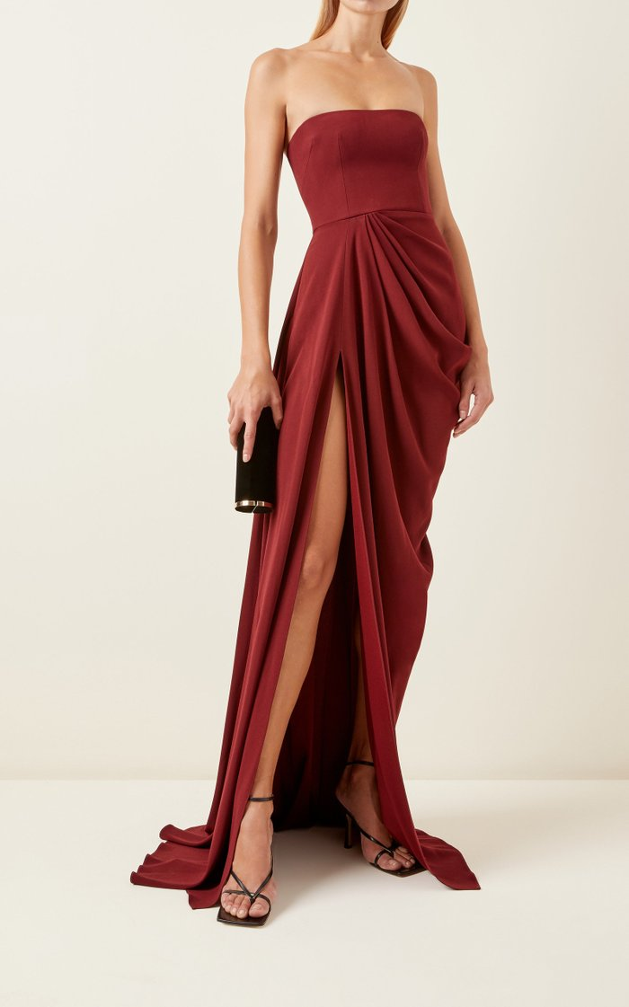 Exclusive Draped Crepe Strapless Gown