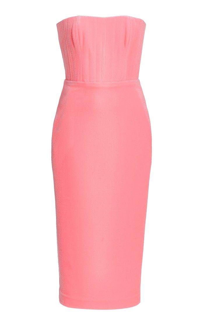 Exclusive Mena Velvet Strapless Midi Dress