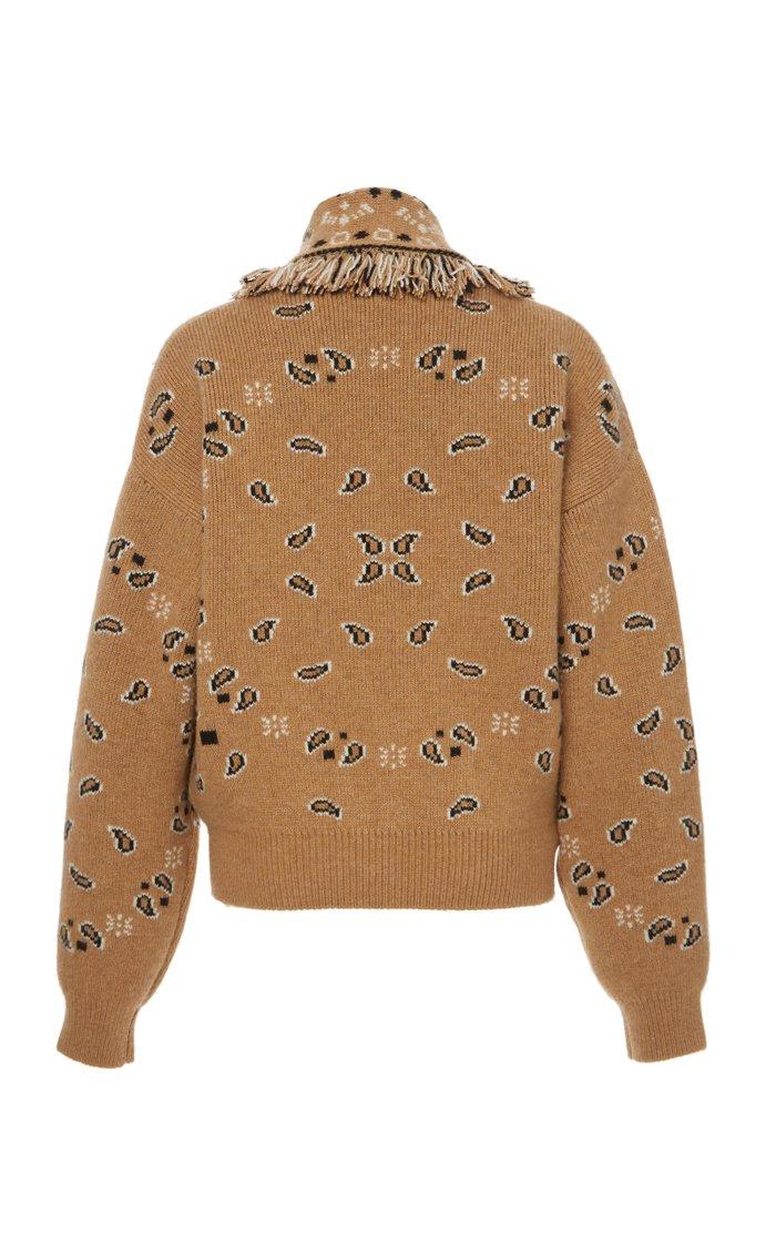 Bandana Fringed Jacquard Cashmere And Wool Cardigan