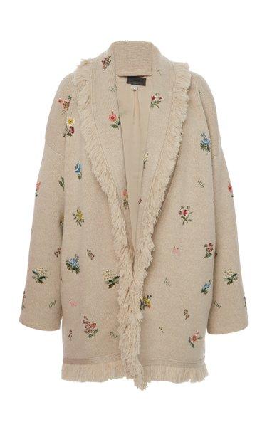 Melting Pot Fringed Floral Wool-Blend Cardigan