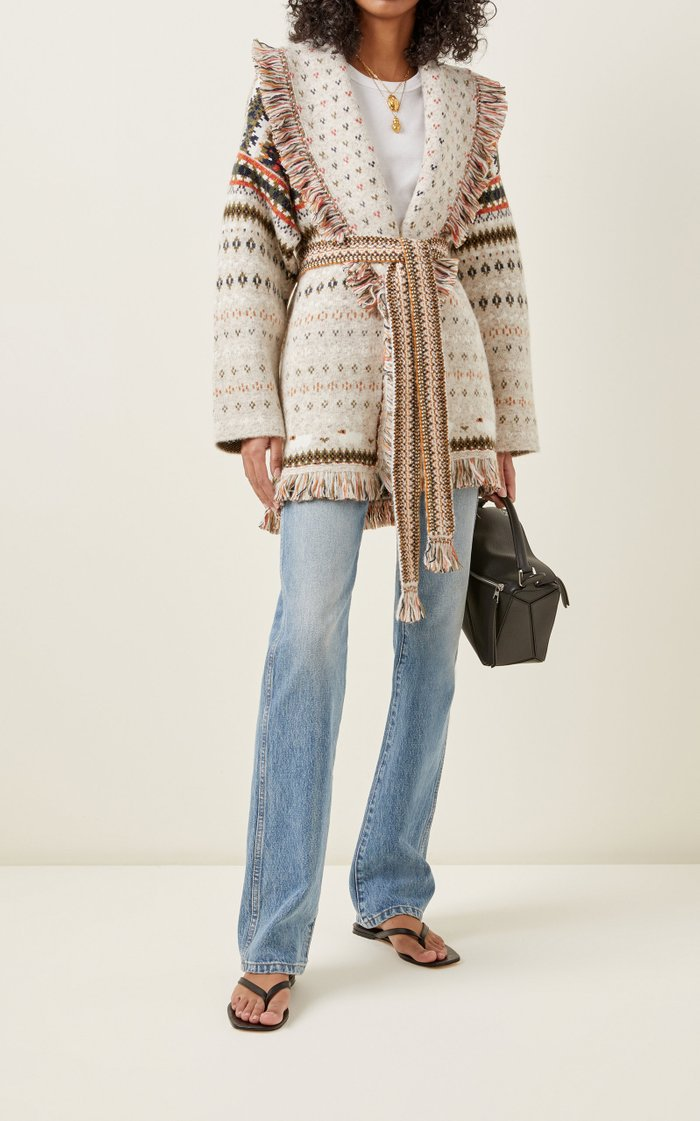 Lost In A Forest Fringed Embroidered Cashmere Cardigan