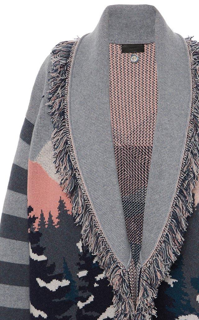 Frozen Landscape Belted Fringed Jacquard Cashmere-Blend Cardigan