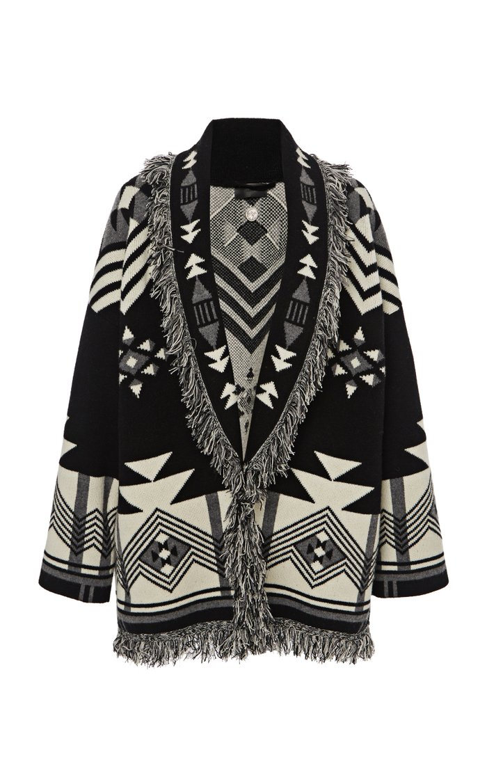 In The Dark Fringed Jacquard-Knit Wool-Blend Cardigan