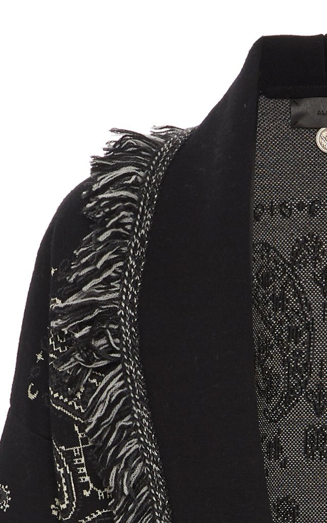 Fast Wash Belted Fringed Jacquard Wool-Blend Cardigan