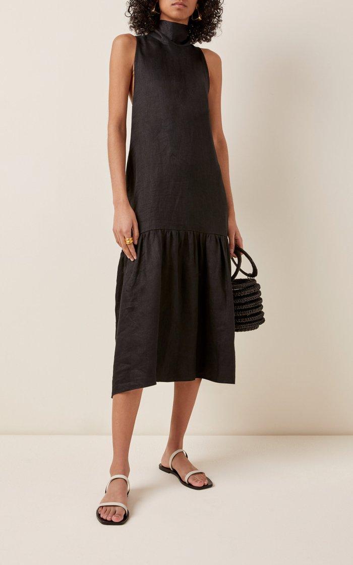 The Oslo Linen Tie-Neck Midi Dress