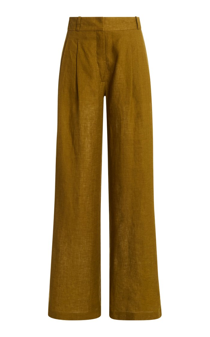 The Rivello Pleated Linen Wide-Leg Trousers
