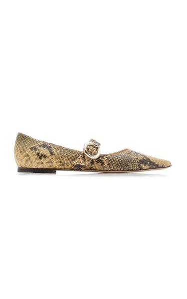 Gela Snake-Effect Leather Ballet Flats