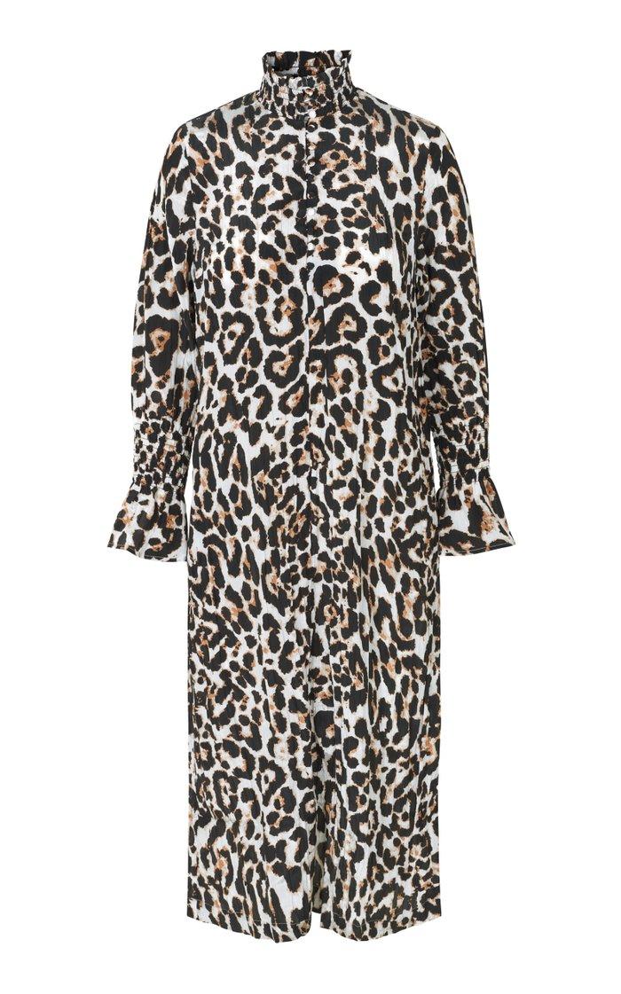 Aeverie Leopard-Print Crepe Dress