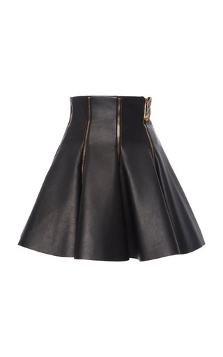Zip-Detailed Flared Leather Skirt