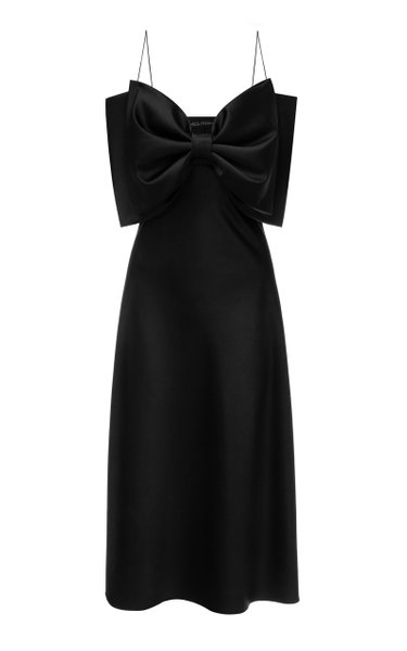 Gala Bow-Embellished Satin Dress