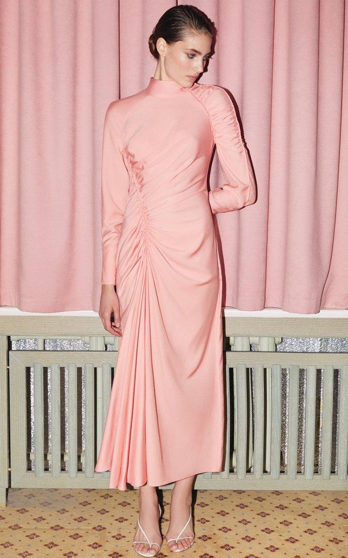 Harriette Ruched Crepe de Chine Midi Dress