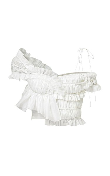 Ann Ruffled Cotton Crop Top