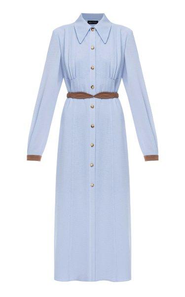 Alexandra Belted Crepe De Chine Shirt Dress