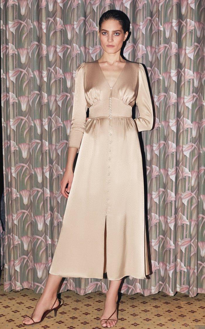 Marta Ruched Satin Midi Dress