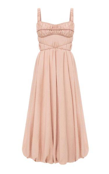 Naples Ruffled Satin Dress