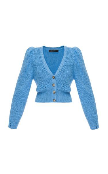 Larisa Puffed-Sleeve Wool-Blend Cardigan