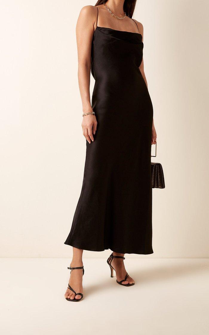 Dasha Open-Back Satin Dress
