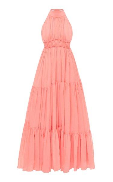 Principessa Tiered Ruffled Crepe Dress