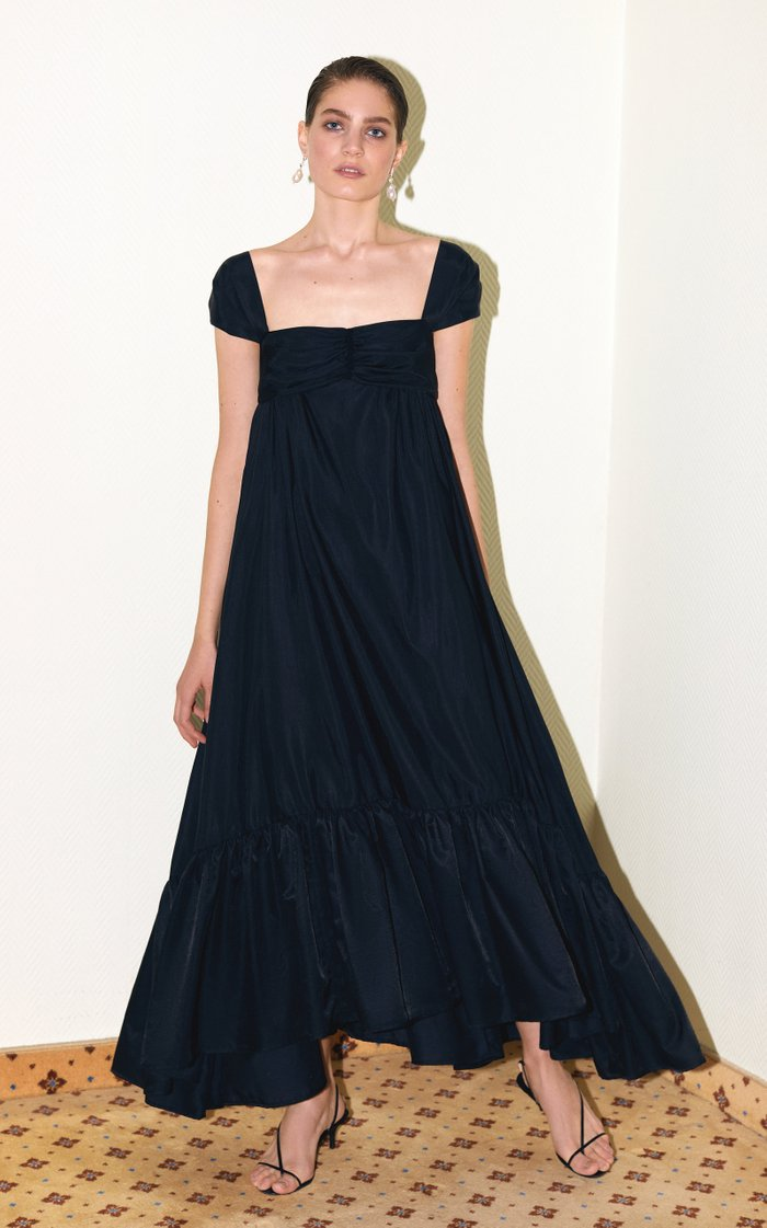 Yelena Crepe de Chine Maxi Trapeze Dress