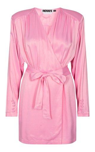 Samantha Belted Satin Wrap Dress