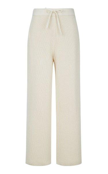 Ribbed Cotton Wide-Leg Pants