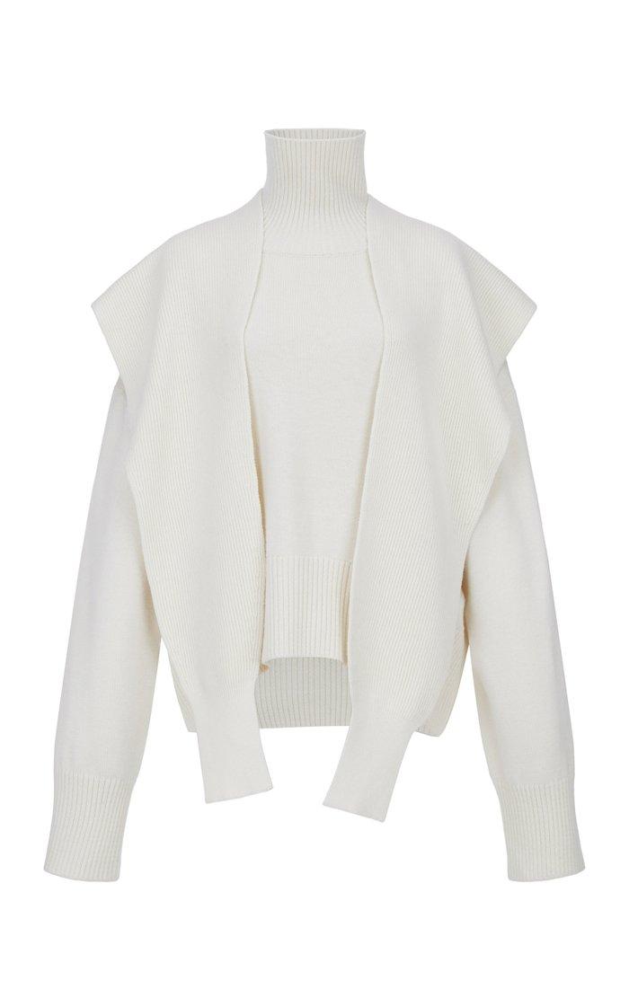 Draped Merino Wool Turtleneck Sweater