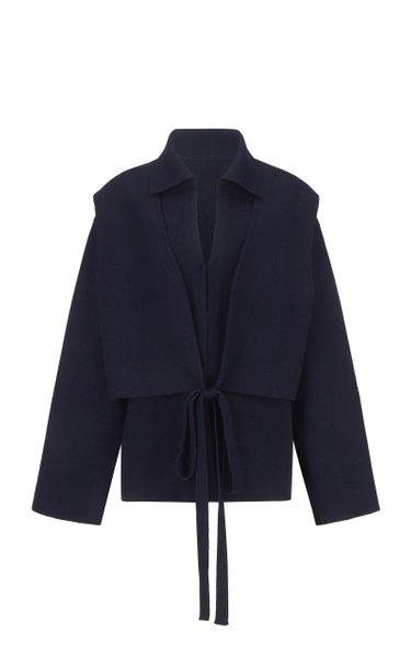 Tie-Detailed Stretch-Knit Jacket