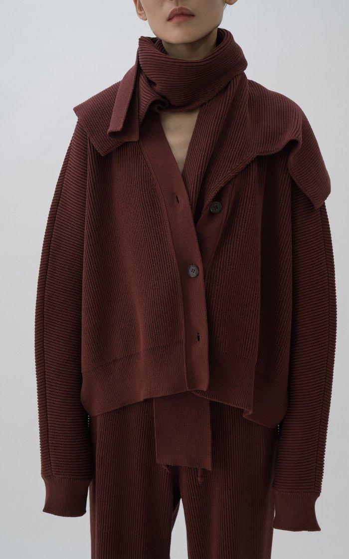Oversized Draped Ribbed Cotton Cardigan
