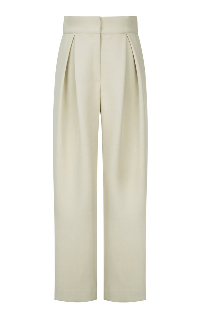 Pleated Cady Wide-Leg Pants