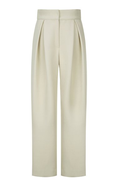 Pleated Cady Wide-Leg Pants