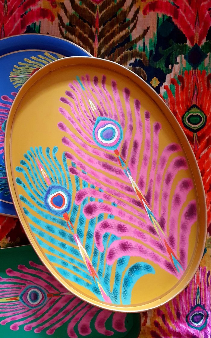 Yellow Oval Peacock Feather Iron Tray