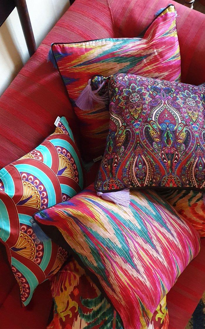 Peacock Feathers Silk Cushion