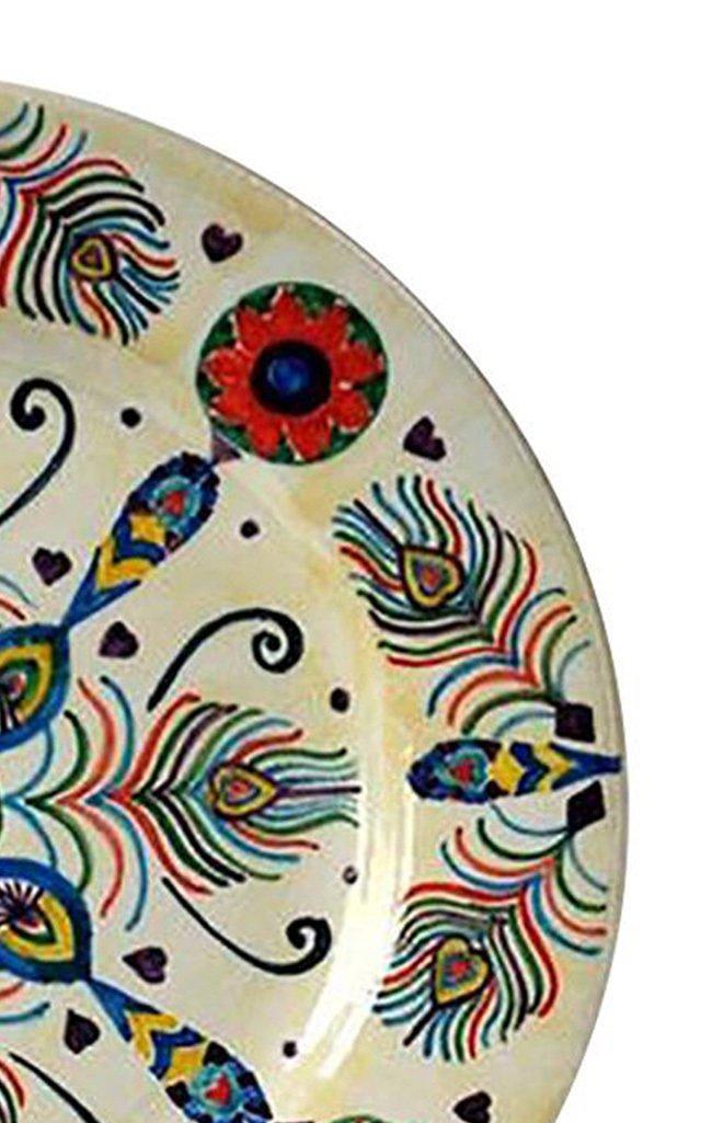 Peacock Design Handpainted Ceramic Plate