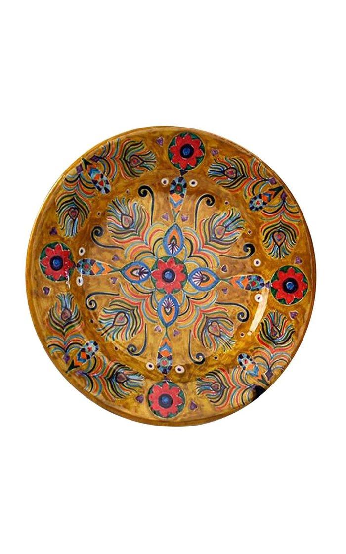Peacock Design Handpainted Saffron Ceramic Plate