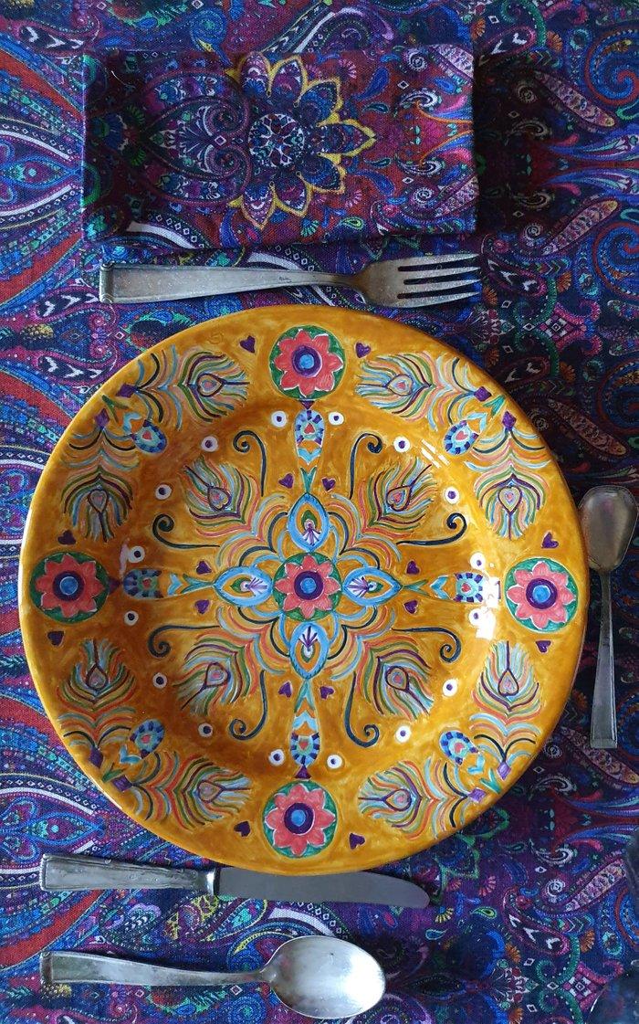 Peacock Design Handpainted Tamgerine Ceramic Plate