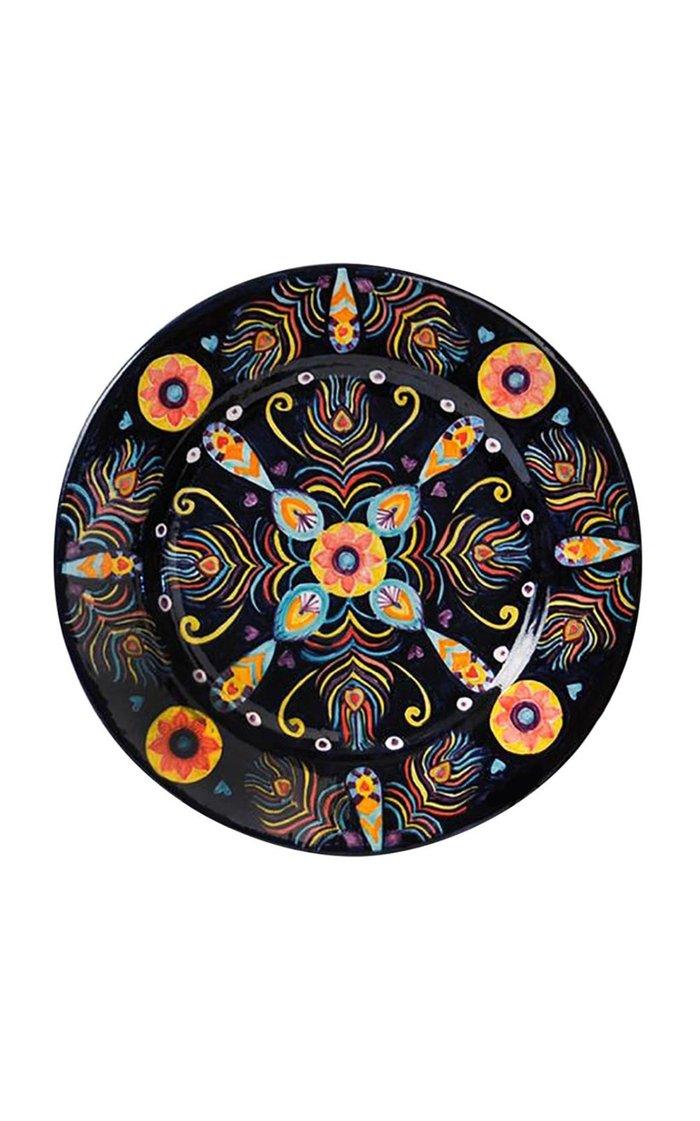 Peacock Design Handpainted Black Ceramic Plate