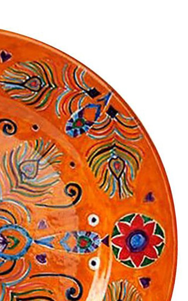 Peacock Design Handpainted Orange Ceramic Plate