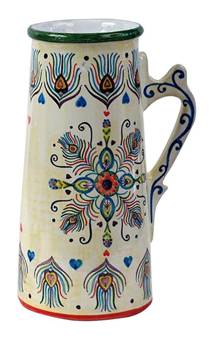 Peacock Design Handpainted Cream White Ceramic Jug