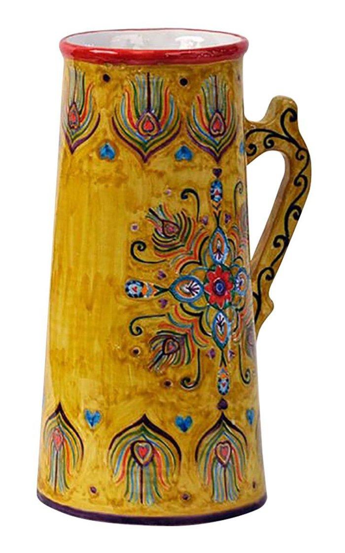 Peacock Design Handpainted Saffron Ceramic Jug