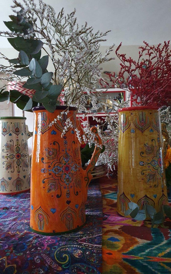 Peacock Design Handpainted Orange Ceramic Jug
